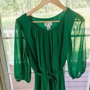 Sweet Storm Dresses - Sweet Storm Green, Navy, White Sheer Sleeve Dress